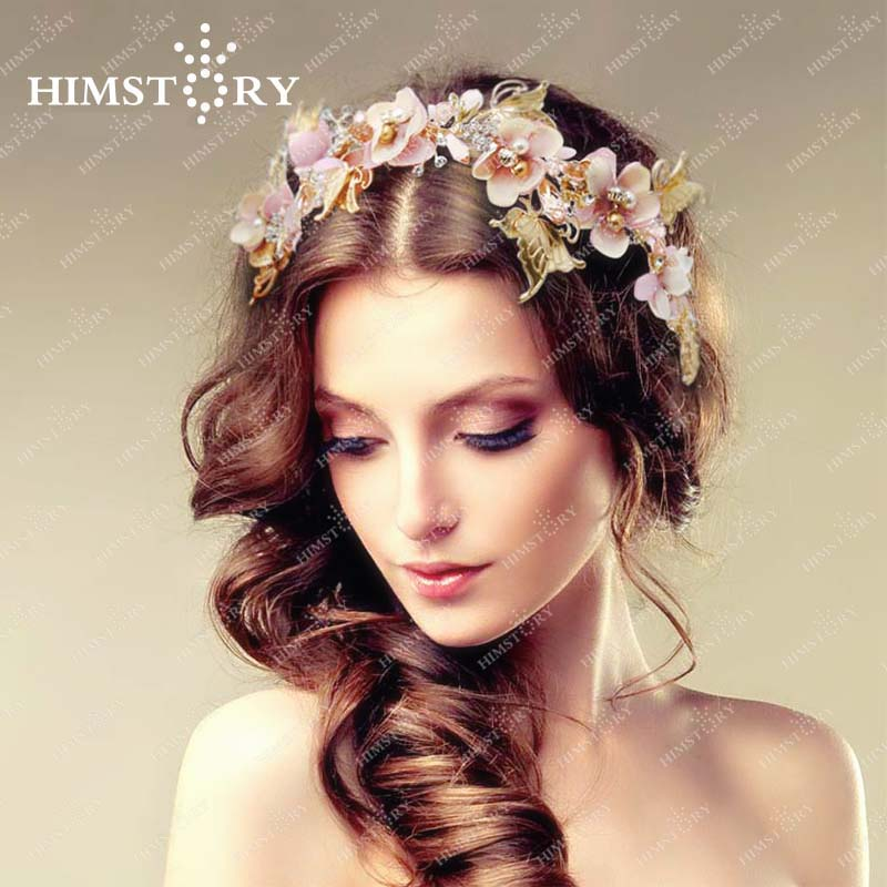 HIMSTORY Elegance Crystal Butterfly Floral Hairband beautiful Leaf Pearl Jewelry headband Wedding Photography Hair Accessory