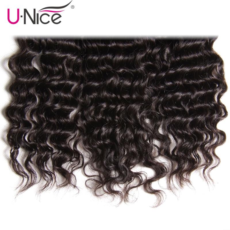 Unice Hair Deep Wave Brazilian Hair Weave Bundles 3 PCS Natural Color 100% Human Hair Weaving Remy Hair Extension 12-26 Inch