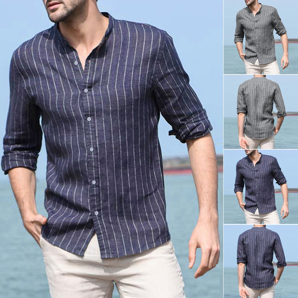 2019 Summer Men's Baggy Cotton Linen Striped Long Sleeve Button Retro Shirts Tops Blouse Camisa Masculina Streetwear