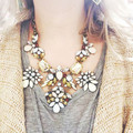 2016 de Alta Calidad Nueva Marca de Collar y Colgante de Joyería de Las Mujeres de Moda Grande De Vidrio de Cristal de Lujo Collar Llamativo Chunky