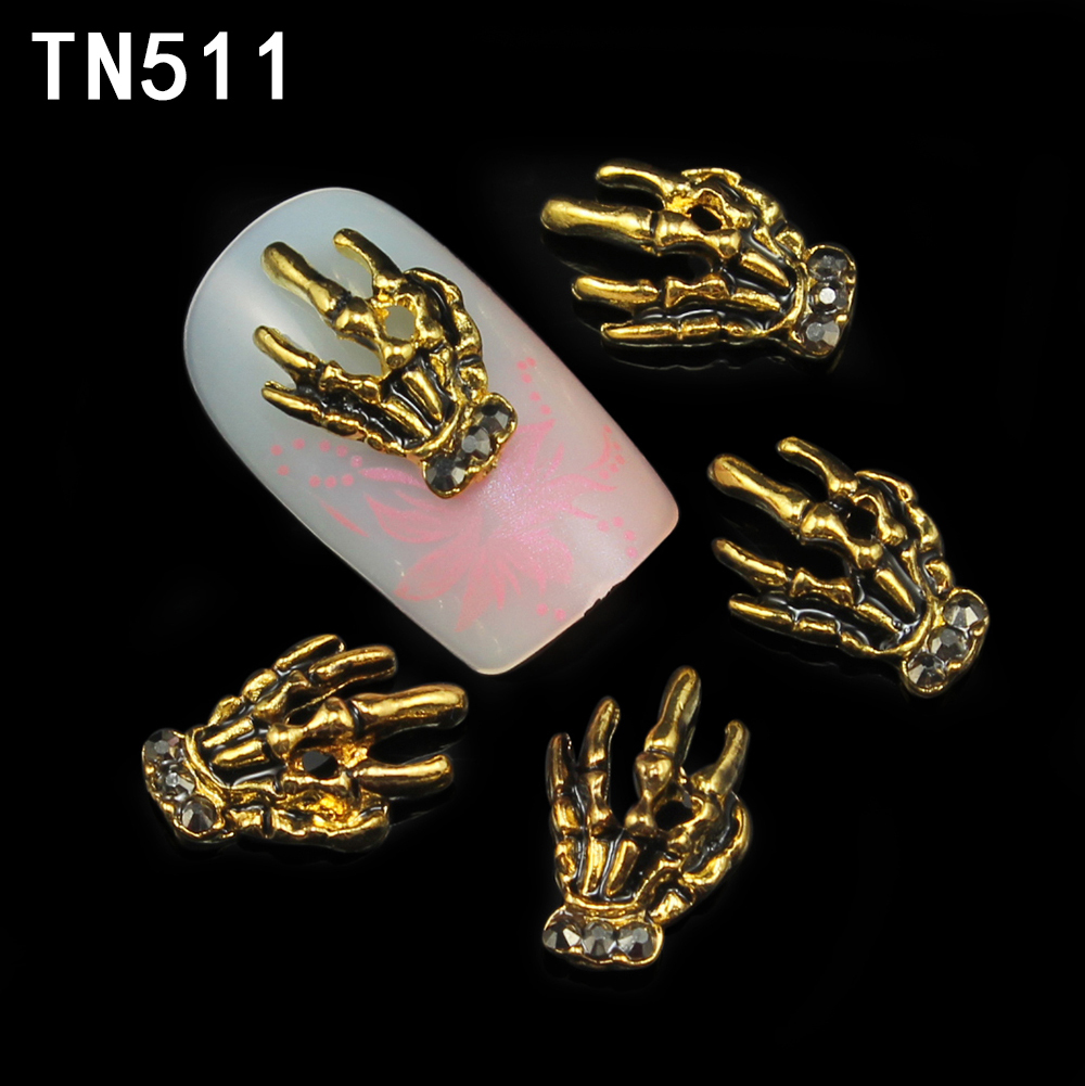 10pcs 3d alloy nail art decorations gold skull claw charm manicure nail tips rhinestone decoration nail tools TN511 diy 3d gold silver transparent mini caviar beads gel polish nail art tips charm metallic pearl ball pro manicure pedicure