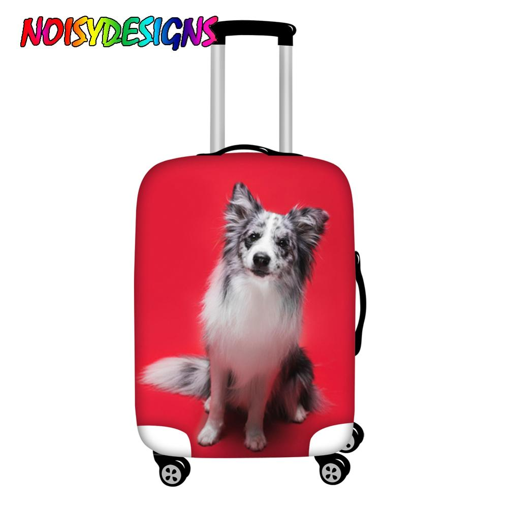 NOISYDESIGNS Hot Sale Thick Red Luggage Dust Cover Border Collie Dog Travel Trolley Luggage Protective Covers Stretch Women