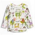 Queda T-shirt de manga comprida menina crianças t camisas de impressão Dos Desenhos Animados estilo T-shirt Do Bebê Menino Roupas de outono Nova garota O Pescoço T camisas
