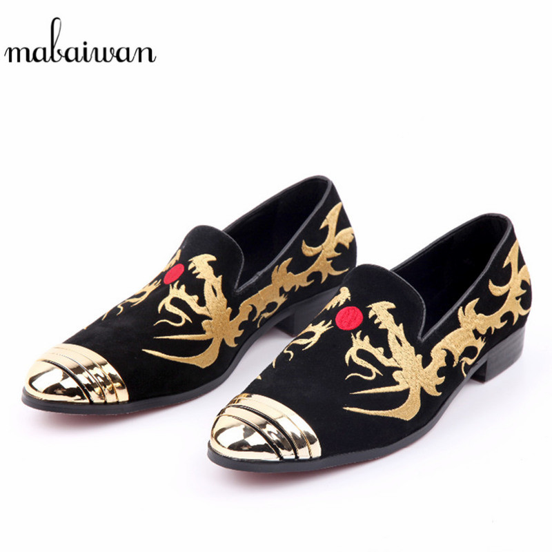Mabaiwan 2018 Fashion Black Men Flat Shoes stitch Dragon Embroidery Casual Shoes Men Loafers Dress Shoes Zapatos Hombre Footwear цена