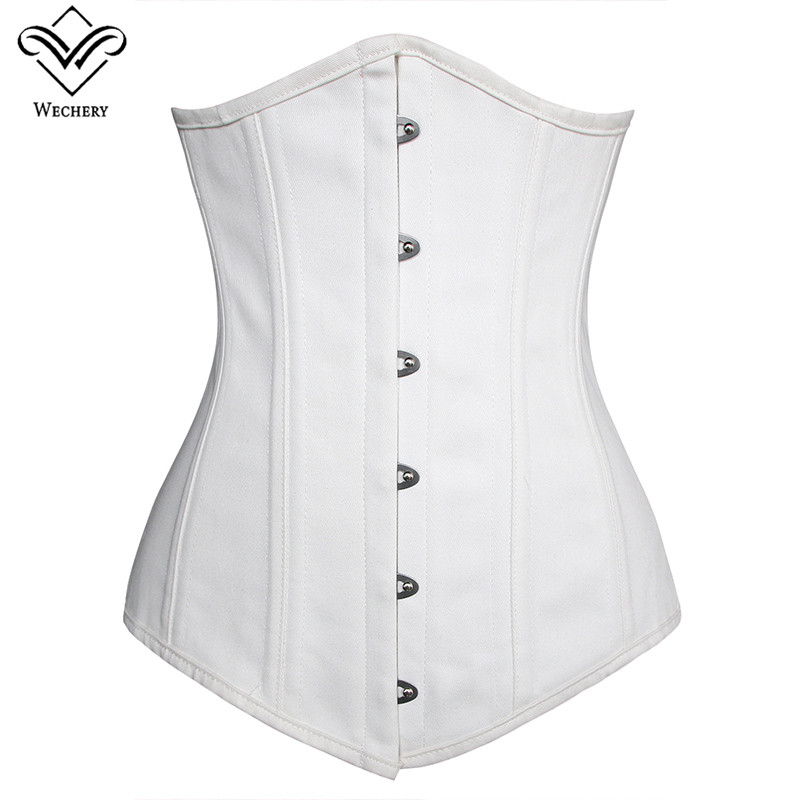 Wechery Steampunk Corset Sexy Underbust  Push Up Corsets Plus Size Lace Up Waist Trainer Vintage Posture  Show Gorset Bustiers-in Bustiers & Corsets from Underwear & Sleepwears