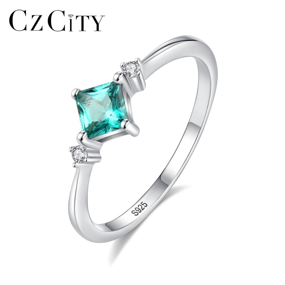 CZCITY High Quality Square Shaped Wedding Rings For Women Real 925 Sterling Silver Tourmaline Female Rings Fine Jewellery Bijoux