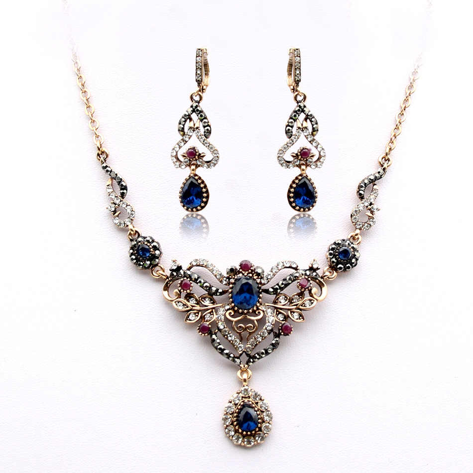 Turkish Women Earrings Necklace Jewelry Set Resin Rhinestone Drop Princess Hook Earring Flower Wedding Necklace Retro Gold Plate