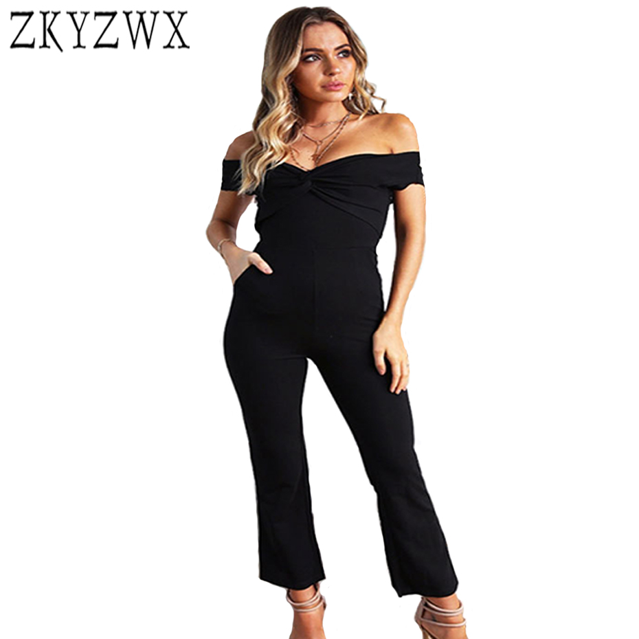 ZKYZWX Sexy One Piece Set Rompers Womens Jumpsuit Casual Bodysuit Off Shoulder Short Sleeve Overalls Wide Leg Pants Jumpsuits