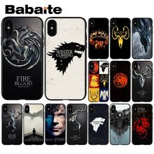 Babaite Game of Thrones  Novelty Fundas Phone Case Cover for iPhone X XS MAX 6 6S 7 7plus 8 8Plus 5 5S XR