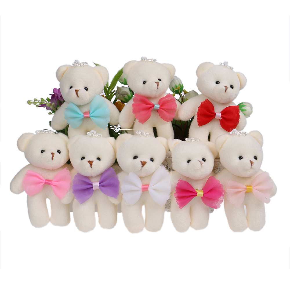 Mixed 8 Colors Plush Toys Bow Cute Korean Style Mini Baby Girls Bear Toys Dolls Candy Color Flower Bouquets hot sale 12cm foreign chavo genuine peluche plush toys character mini humanoid dolls