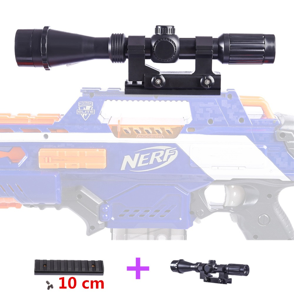 New Tactical Plastic Magnifying Sight Set with 10cm Rail Adapter for Nerf Blaster /for Nerf N-Strike Elite Infinus/stryfe/