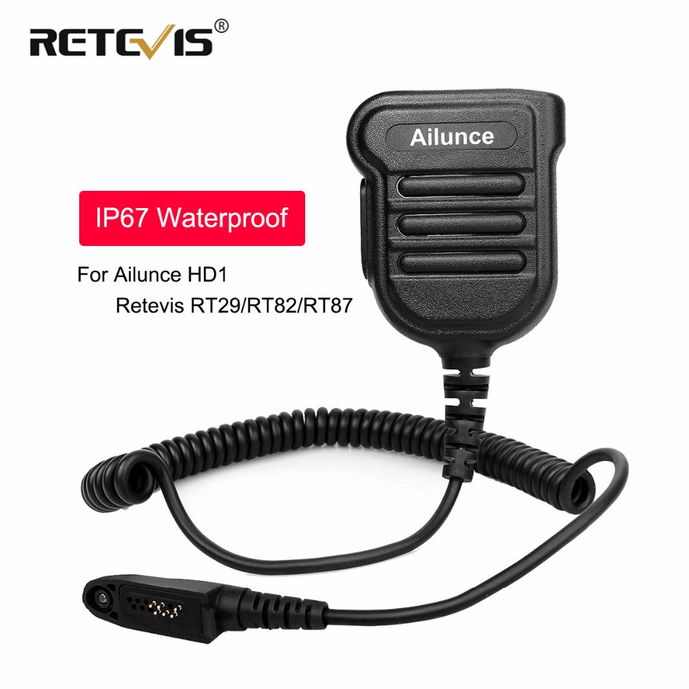New Upgraded IP67 Waterproof PTT Speaker Microphone For Ailunce HD1 Retevis RT29/RT87/RT82 Two Way Radio Walkie Talkie