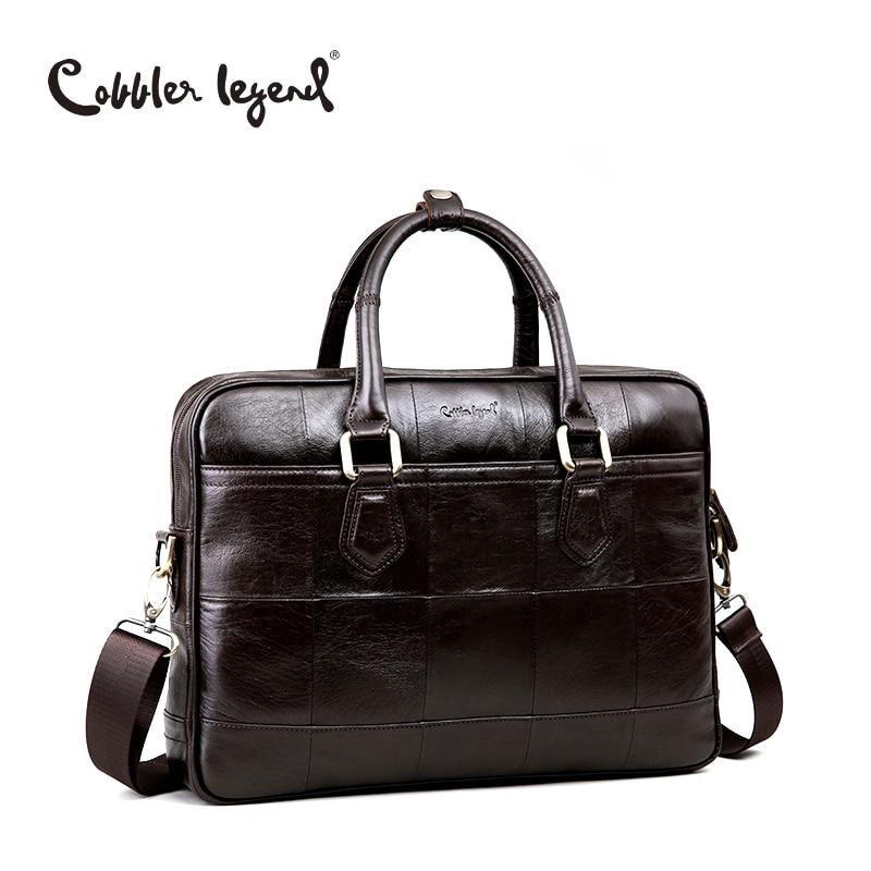 Cobbler Legend Brand Designer Men's Real Leather Briefcase Bag For Male Crossbody Bags For 15'' Laptop Business Bag 0907159-A-1