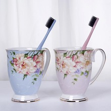 Bathroom Tumblers Toothbrush Cup Wash Tooth Mug Gargle Suit Luxury Printing Ceramic Accessories 10