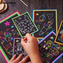 10 шт. маленький и большой размер два в одном Волшебная цветная бумага для скретч Арта цветные ing карты игрушки для рисования соскабливанием для детей Дети GYH