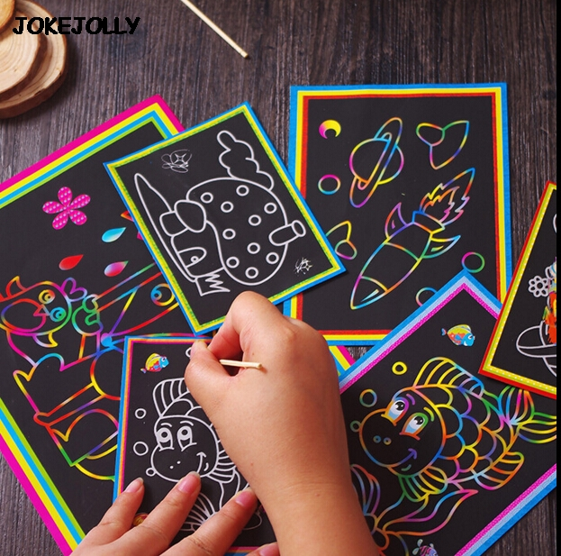 10pcs Small And Large Size Two-in-one Magic Color Scratch Art Paper Coloring Cards Scraping Drawing Toys For Children Kids Gyh