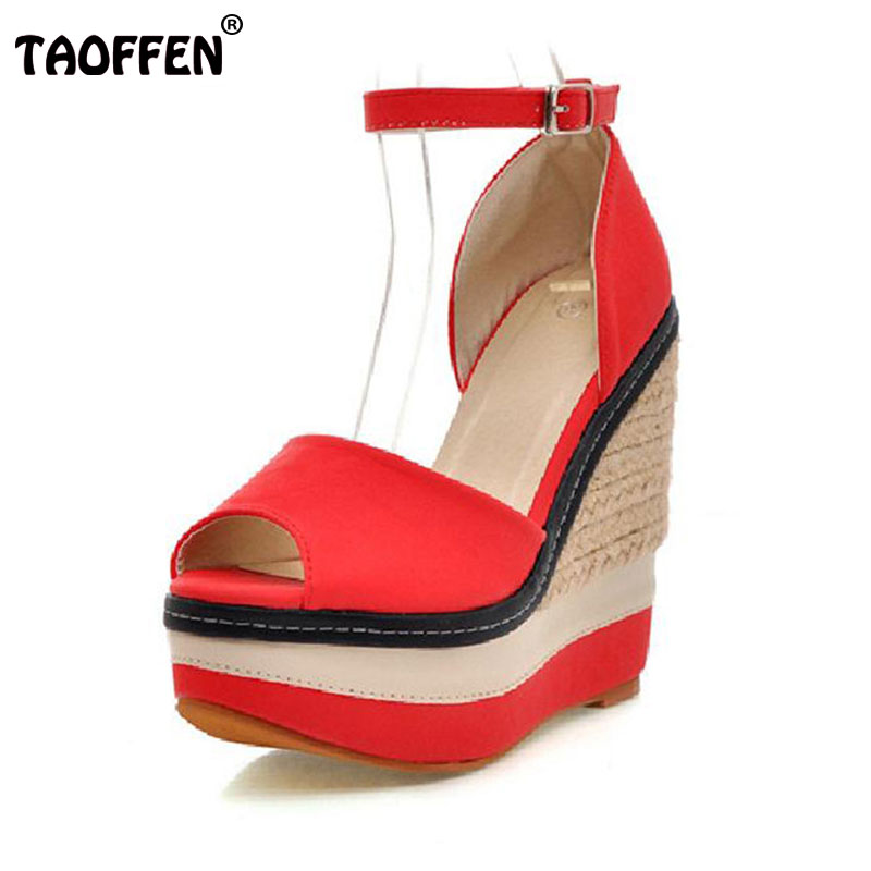 TAOFFEN Women Wedges Peep Toe Shoes Women Ankle Buckle High Heels Sandals Lady Fashion Platform Office Footwears Size 34-39 spring summer new fashion sexy women pumps peep toe wedges platforms high heels sandals shoes woman buckle 35 42 loslandifen