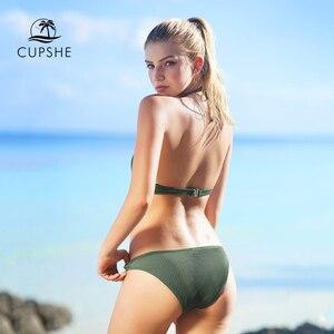 Image 3 - Cupshe Matcha Ijs Halter Bikini Set Vrouwen Solid Backless Crop Top Sexy Twee Stukken Badmode 2020 Meisje Strand Sexy badpakken