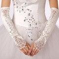 Luvas sem dedos Casamento Frisado Bege Para Elbow Comprimento Com Apliques Frisado Senhoras Vestido Vestidos de Noiva Acessórios Do Casamento da Luva