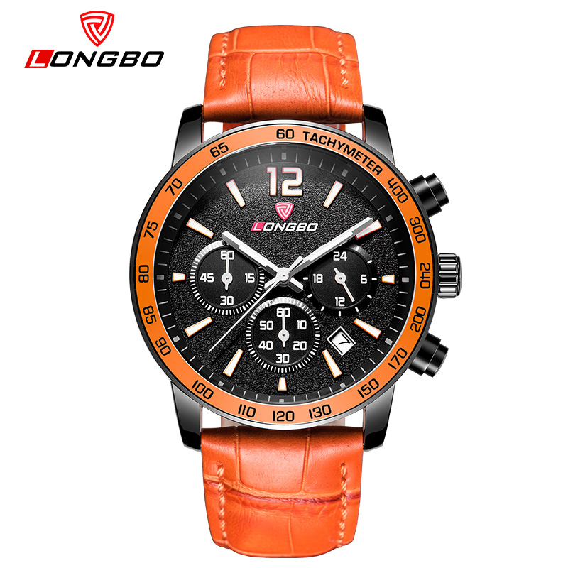 LongBo Brand 2018 New Men's Watches Quartz Watch Men Real Three Dial Waterproof 30M Outdoor Sports Alloy Leather watch 12 colors longbo men military watches complex big dial leather strap wristwatch male outdoor sports quartz watch life waterproof uhren men