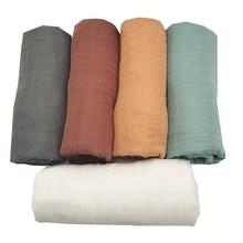 Бамбуковые муслиновые пеленальные одеяла, аксессуары для фотографирования новорожденных, мягкие пеленки, детские постельные принадлежности, банное полотенце, одноцветные, от LASHGHG