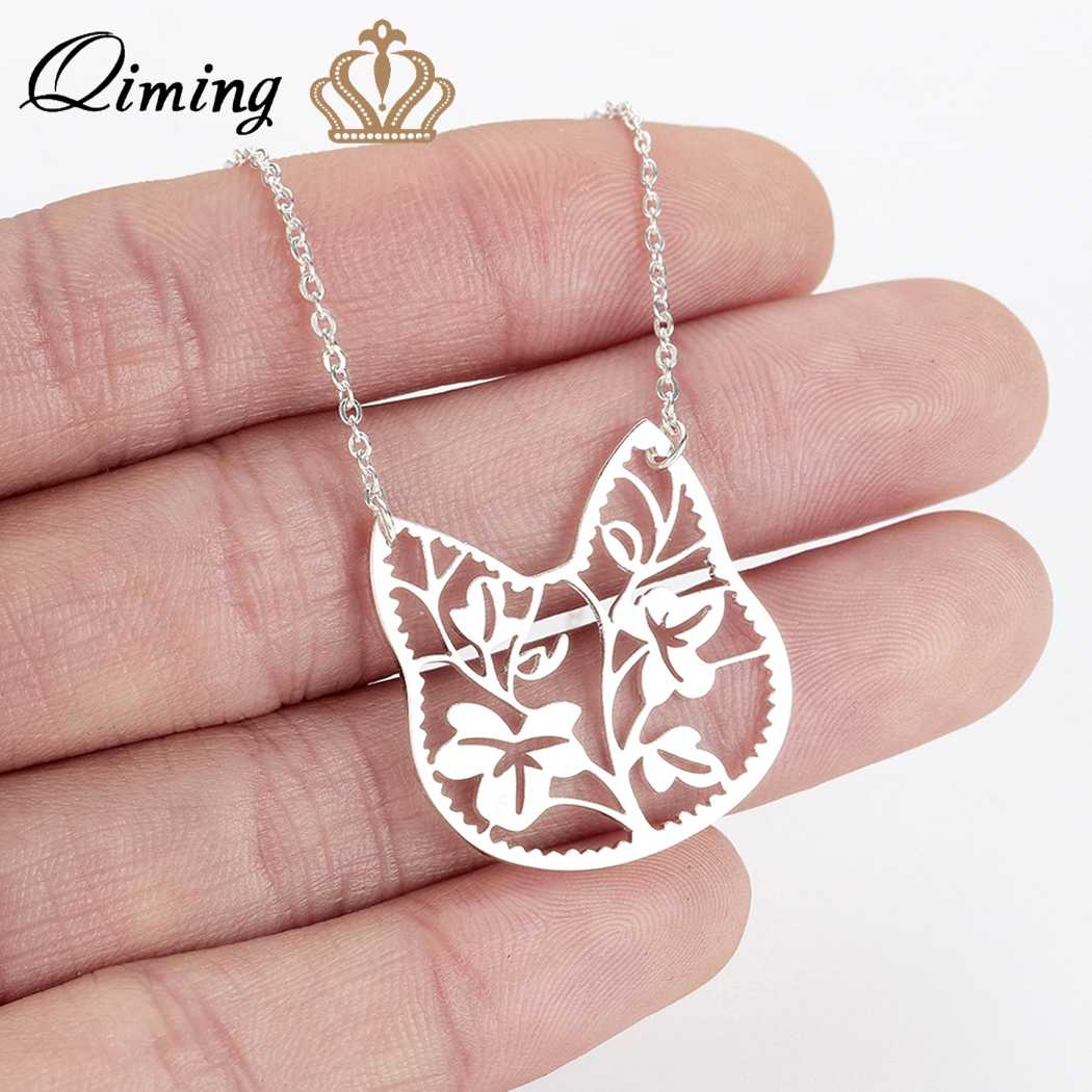 QIMING Silver Cat Necklace Female Women's Lovely Jewelry Brach Leave Pendant Animal Necklace Girlfriend Gift Accessories
