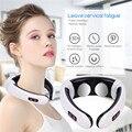 Masajeador de cuello de pulso eléctrico vértebra Cervical masaje calefacción infrarroja lejana acupuntura terapia magnética herramienta de alivio del dolor