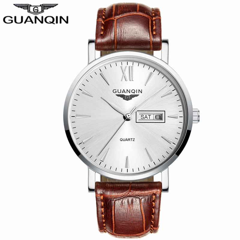 ФОТО GUANQIN GS19033 Watch Men Luxury Brand Sport Watches Fashion Casual Leather Strap Quartz Watch Date Wristwatch relogio masculino