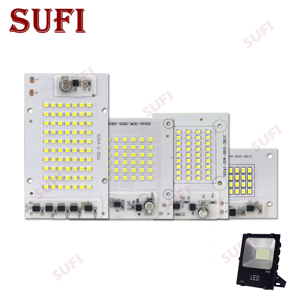 Smart IC SMD LED Chips Lamp 10W 20W 30W 50W Pure White SMD 2835 AC 220V 5054 DIY For Outdoor Floodlight Outdoor Garden Light