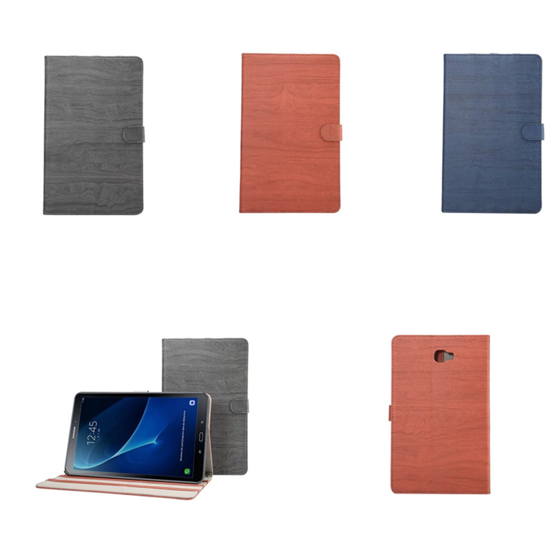 DS PU Leather Tablet Cover Stand Case For Samsung Galaxy Tab A A6 10.1 2016 Release T580 T585 SM-T580 SM-T585 Fashion wood grain  for samsung galaxy tab a a6 10 1 2016 t585 t580 t580n case girl bling butterfly pu leather book stand protective tablet cover