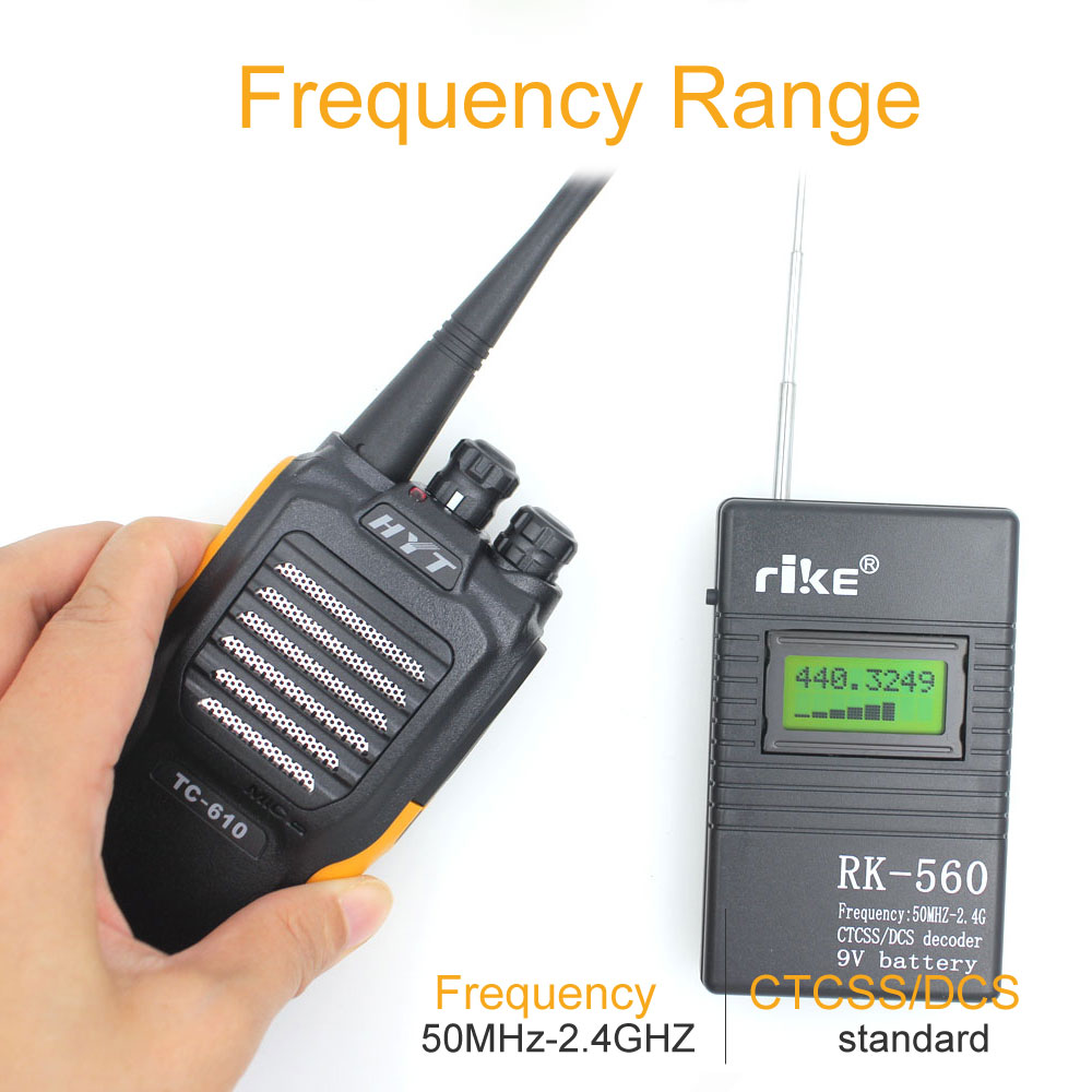 50MHz-2.4GHz Portable Handheld Frequency Counter RK560 DCS CTCSS Radio Tester RK-560 Frequency Meter
