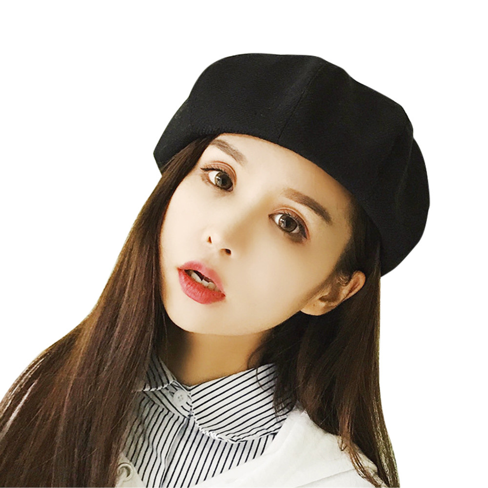 66dc61b3017dac 2018 new ladies girls hat harajuku autumn and winter warm fashion plaid  beret painter hat dome