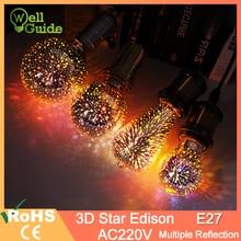 все цены на Led Light Bulb 3D Decoration Bulb Firework AC110 220V ST64 G95 G80 A60 Bottle Heart E27 Holiday Lights Novelty Christmas Lamp