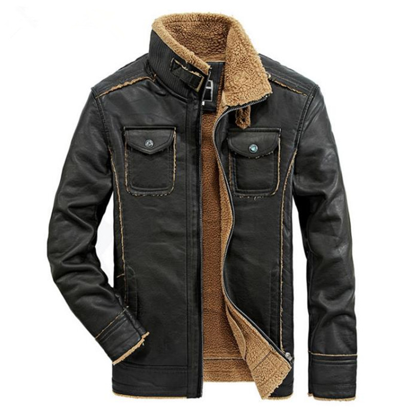 2018 nouvelle annonce de automne et d'hiver haute qualité hommes veste en cuir moto veste chaude PU cuir hommes manteau
