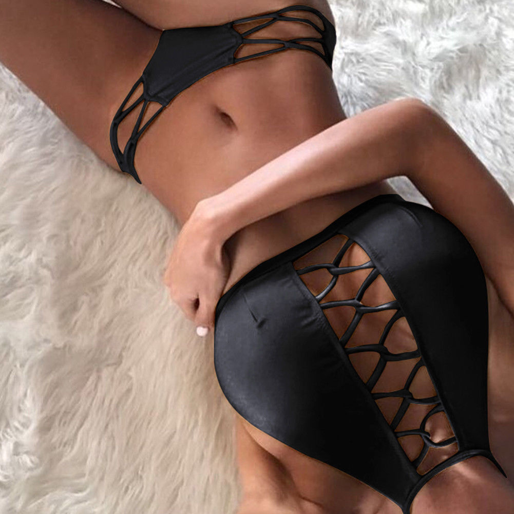 Womens Sexy Bikini Set Black Swimsuit Ladies Sexy Bathing Suit Solid Monokini Beachwear Push Up Padded Bra+Thong 2pcs 2019 Hot