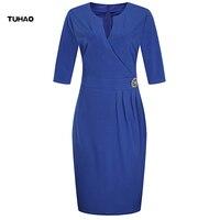 TUHAO Women S Clothing Large Size 5XL 6xl Women Elegant Office Dress OL Work Dress European