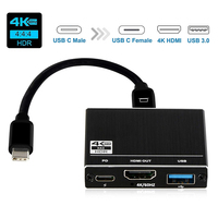 2019 USB C Hub 3 in 1 Type C Hub USB C 3.1 to HDMI 4K@60Hz, USB 3.0 Port 100W USB C Power Delivery Portable for Nintendo Switch