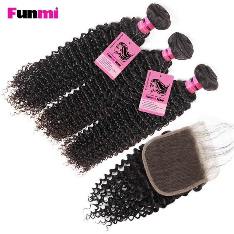 Mutig Funmi Malaysische Haarbündel Mit Verschluss Kinky-curly Bundles Mit Spitze Schließung 3 Bundles Mit Verschluss 100% Reines Menschenhaar Salonpackung-haarbündel