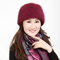 Women Thickening Warm Rabbit Fur Cap Female Bucket Mother Hats National Wind Lady Winter Cap for Elder Women B-4358