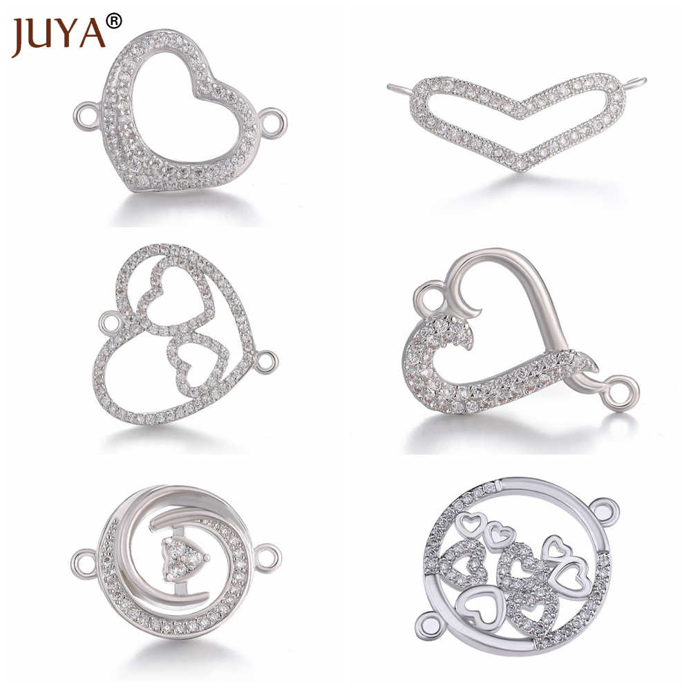 e971bddd4b Jewelry Findings Copper Zirconia Heart Charm Connectors Accessories For DIY  Making Bracelet Necklace Earrings Women breloque