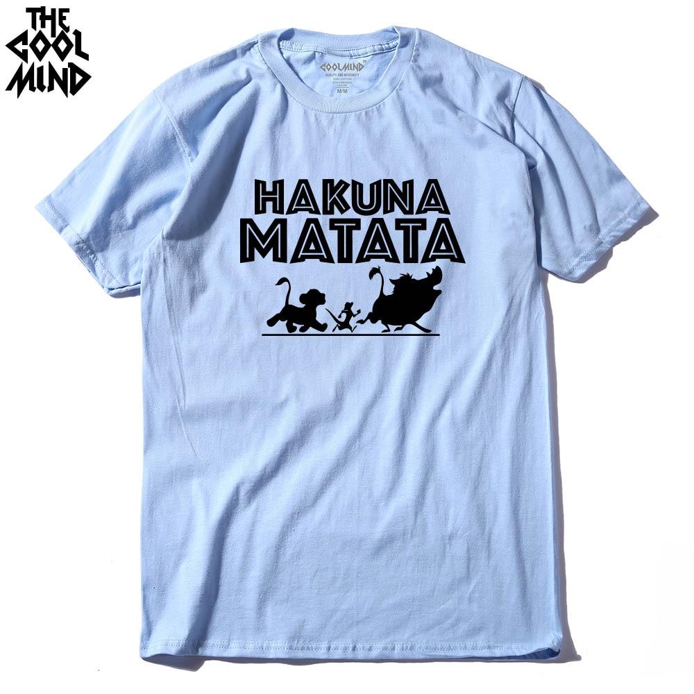 COOLMIND HA0113A 100% Cotton Knitted Hakuna Matata Printed Short Sleeve Men T Shirt Casual Comfortable Summer Mens Tshirt Tees