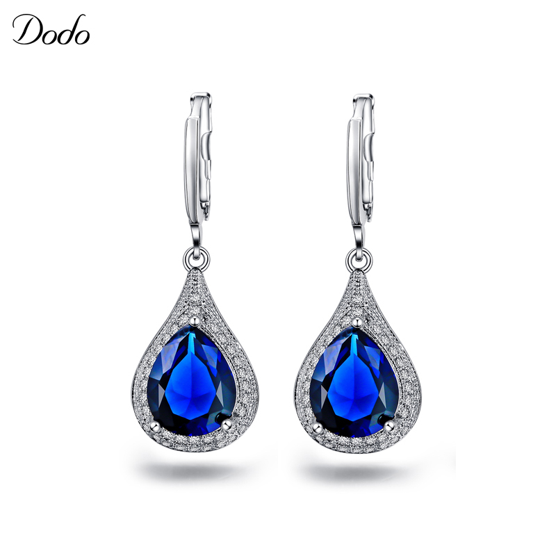 Sapphire jewelry earrings for women CZ diamond crystal vintage retro silver plated romantic pendants ladies accessories DE020