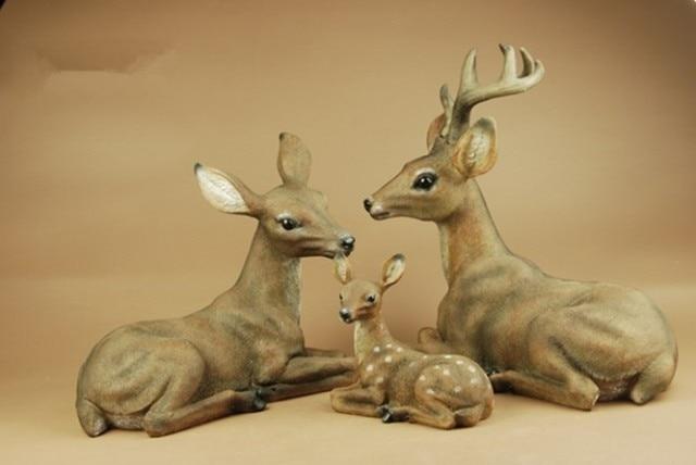 Trois familles de cerf décoration résine artisanat Imitation bois sculpture maison décorations Souvenirs (A913)