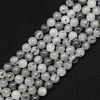 15.5inches 1 strand 10mm 12mm Natural Black Rutilated Quartz Round Beads,Smooth Raw Crystals Loose Beads Crafts Bracelet Charms