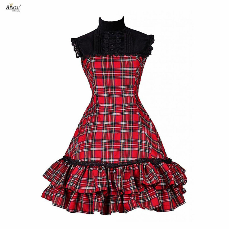 Middle-Long Dress Womens Red Plaid Pattern Cotton Sleeveless Stand Collar Classic A-line Lolita Dress For Casual/Party/Halloween