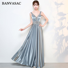 BANVASAC 2018 V Neck Luxury Crystal Sash A Line Long Evening Dresses Party Spaghetti Strap Satin Backless Prom Gowns