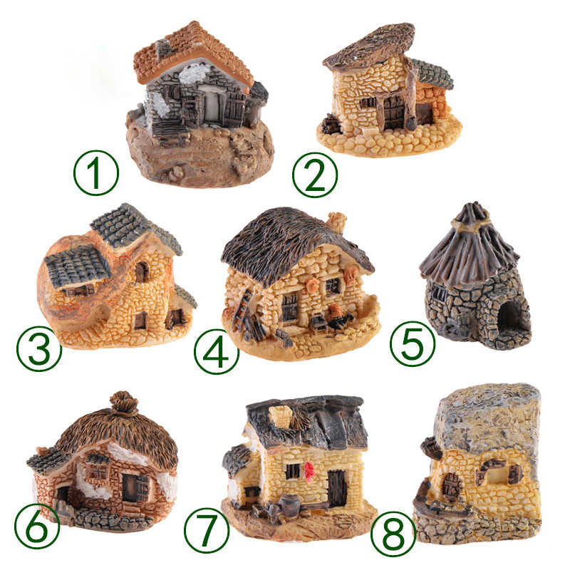 1PC Antique Imitation Resin House Architecture Miniature Fairy garden House DIY Home Decor Micro Landscape Decoration Crafts