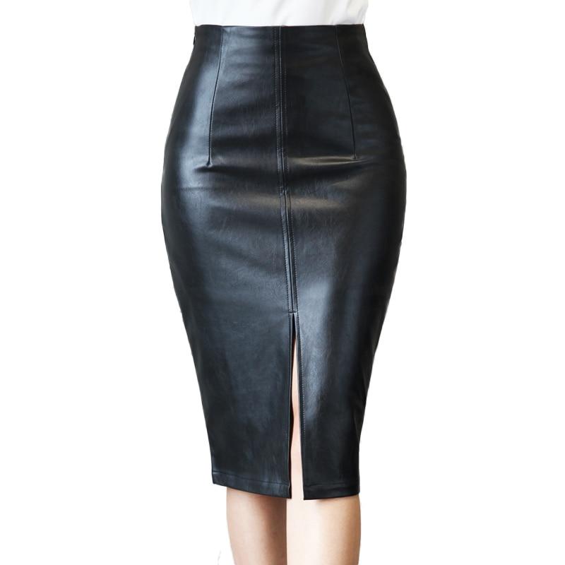 Plus Size Leather Skirt Winter 2017 Fashion Black Knee Length Pencil Skirt Slim Office Women Skirt Vintage Midi Skirt E0177