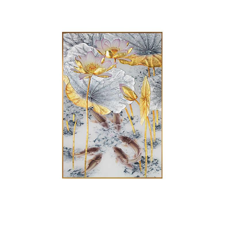 Astratta Oro di Loto Pesci della Tela di Canapa Pittura Moderna Poster Art Cuadros Nuovo Stile Cinese Della Decorazione Della Parete di Immagini per Soggiorno Corridoio