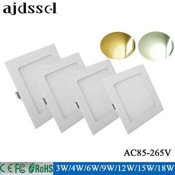 Panel Light ultra thin LED Square 4W 6W 9W 12W 15W 18W 85-2565V recessed ceiling led panel light White/ Warm white